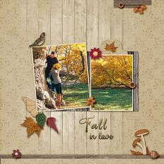 """""""Fall In Love"""" digital scrapbooking layout using Cozy Autumn Collection Mini."""