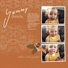 """Yummy donuts"" digital scrapbook layout features SSDLT: Modern Rustic, series 3"