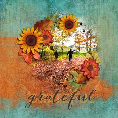 Scrapbook page created using Hello Fall digital layout templates