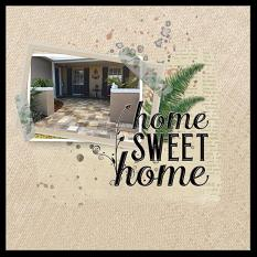 """""""Home Sweet Home"""" digital scrapbook layout features Brush Set: Blessed Life"""