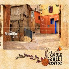 """""""Home Sweet Home"""" digital scrapbook layout showcases Brush Set: Blessed Life"""