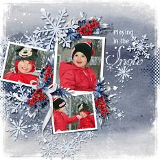 Layout using ScrapSimple Digital Layout Templates:First Snow