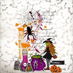 Creepy  layout using Bewitched Word Strips