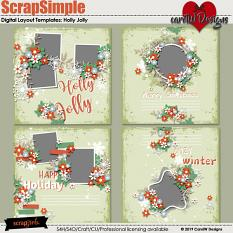 ScrapSimple Digital Layout Templates:Holly Jolly