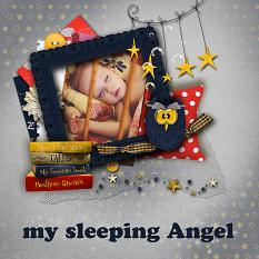 My sleeping angel layout using Bedtime Stories Collection