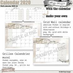 layout using Calendar 2020 Desk Easy Page pro by Florju designs