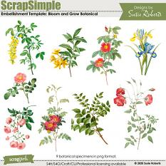 ScrapSimple Embellishment Templates: Bloom and Grow Botanical Preview