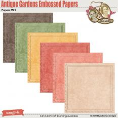 Antique Gardens Embossed Papers by Silvia Romeo