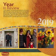 """Year in Review 2019"" digital scrapbook layout showcases SSDLAT: Scrap It Monthly 6, Series 2"