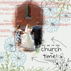 """""""Get Me To The Church On Time"""" digital scrapbooking layout using Brush Set Floral Doodles 2"""