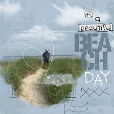 """Beach Day"" digital scrapbooking layout using Brush Set Scribbles"