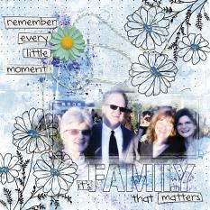 """It's Family That Matters"" digital scrapbooking layout using Brush Set Scribbles"