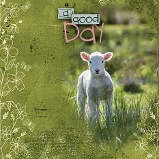 """""""A Good Day"""" digital scrapbooking layout using ScrapSimple Embellishment Templates:  Enjoy Layered Clusters"""