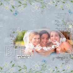 """""""BFF Moment"""" digital scrapbooking layout using ScrapSimple Embellishment Templates:  Enjoy Layered Clusters"""