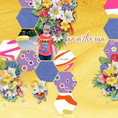 Fun in the sun layout using Sunny side up collection biggie by HeartMade Scrapbook