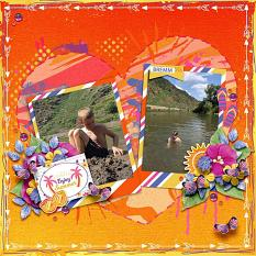 Enjoy summer layout using Sunny side up collection biggie by HeartMade Scrapbook