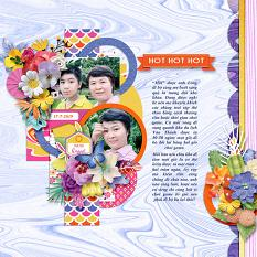 Hot hot hot layout using Sunny side up collection biggie by HeartMade Scrapbook