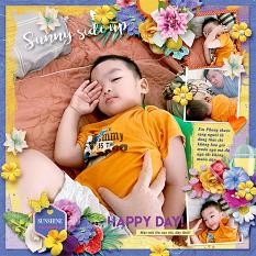 Wake up, wake up! layout using Sunny side up collection biggie by HeartMade Scrapbook
