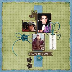 """""""My Favorite Son"""" digital scrapbooking layout using  Just For Him Collection Mini"""