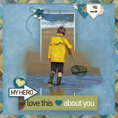"""""""My Hero"""" digital scrapbooking layout using  Just For Him Collection Mini"""