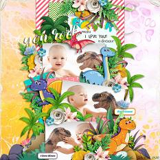 Layout using Dinosaurs collection biggie by HeartMade Scrapbook