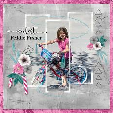 """""""Cutest Peddle Pusher"""" digital scrapbooking layout using Stacked Photos 7"""