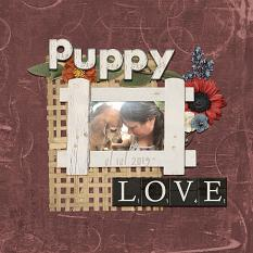 Puppy Love digital scrapbooking layout using Grunge Effect Textures 2
