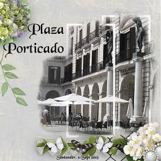 Plaza Porticado digital scrapbooking layout using Grunge Effect Textures 2