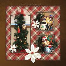 """Firehouse Christmas Tree"" digital scrapbooking layout using ScrapSimple Embellishment Templates:  Lifted Photos"