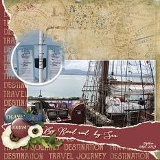 """By Road and Sea"" digital scrapbooking layout using ScrapSimple Embellishment Templates:  Lifted Photos"