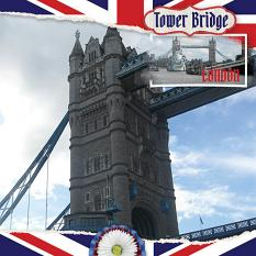 """Tower Bridge"" digital scrapbooking layout using ScrapSimple Embellishment Templates:  Lifted Photos"