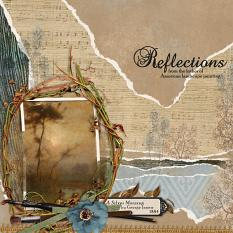 """Reflections"" digital scrapbooking layout using ScrapSimple Embellishment Templates: Lifted Photos"