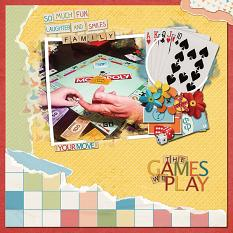 """The Games We Play"" digital scrapbooking layout using ScrapSimple Embellishment Templates: Paper Tears"
