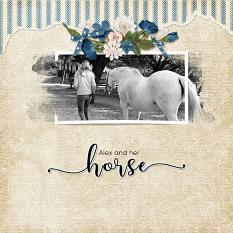 """Alex and Her Horse"" digital scrapbooking layout using ScrapSimple Embellishment Templates: Paper Tears"