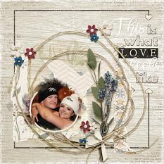 """This Is What Love Looks Like"" digital scrapbooking layout using ScrapSimple Embellishment Templates: Paper Tears"