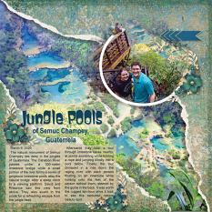 """Jungle Pools"" digital scrapbooking layout using ScrapSimple Embellishment Templates: Lifted Photos"