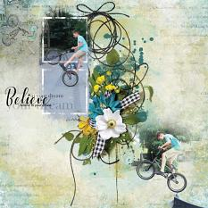 """Believe in your Dream"" digital scrapbooking layout using Summer Reverie Collections"