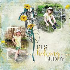 """Best Hiking Buddy"" digital scrapbooking layout using Summer Reverie Collections"