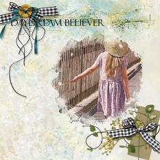 """Daydream Believer"" digital scrapbooking layout using Summer Reverie Collections"