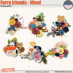Furry friends - Woof - clusters pack 1 by HeartMade Scrapbook