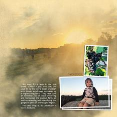 """""""Sunset"""" digital scrapbook layout showcases SSDLAT: Simply Blended, Series 1"""
