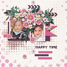 Layout using ScrapSimple Digital Layout Collection:be happy