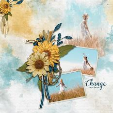 """""""Change Is In The Air"""" digital scrapbooking layout using Whisper Of Change Collections"""
