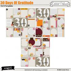 30 Days Of Gratitude 12x12 Templates by Connie Prince