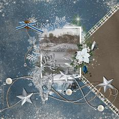 Frosty digital scrapbooking layout featuring Winter Wishes Collections