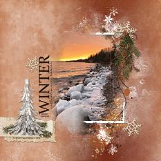 Lake Superior Winter digital scrapbooking layout featuring Call of Winter Collections