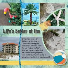 """""""Life's Better at the Beach"""" digital scrapbook layout features SSDLAT: Scrap It Monthly 7, Series 1"""