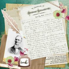 """""""Old Letters,"""" layout by Shalae Tippetts"""
