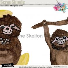Detailed image of water colored sloths