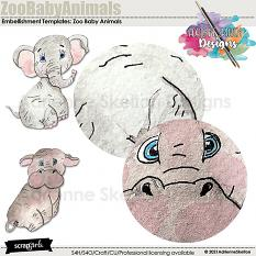 Detailed image of water colored Baby Elephant and Hippo